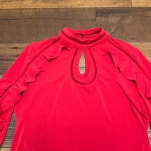 New York & Company Tops - Red long sleeve key hole shirt